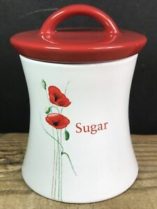 Dunelm Ceramic Sugar Caddy Canister Jar White With Red Poppies