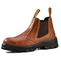 Safetoe Brown Leather Work Safety Boots Mens Shoes Steel Toe Slip on US Stock