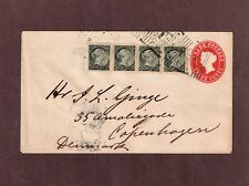 Canada 1894 to Denmark 5c UPU Rate strip of 4 x 1/2c SQ on 3c pre-printed cover