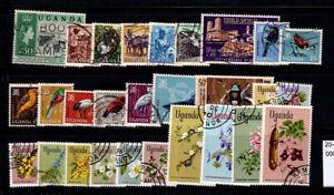 Uganda 1962-1969 Used 100% culture, fauna, birds, flora, flowers