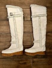 "Hunter ""Cervina"" Over The Knee Boots White Leather Sheepskin Lining Women's 6"