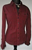 Girl Krazy Junior's Button Shirt Blouse Plaid Gingham Red Black Size Small