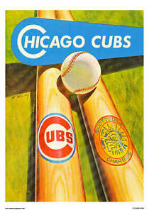 VINTAGE REPRODUCTION SPORTS POSTER CHICAGO CUBS BASEBALL SPRING TRAINING