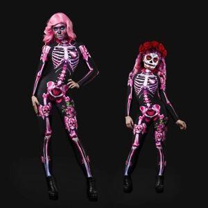 Halloween Women Girls Skeleton Bone Frame Jumpsuit Bodysuit Cosplay Costume
