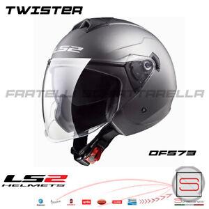 Casco Demi Jet Doppia Visiera LS2 Twister 2 Titanium Flat Grigio Opaco
