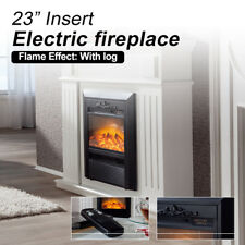 New 2000W Wood Veneer Electric Fireplace Heater with White Mantel Flame