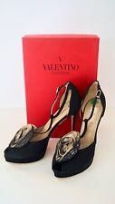 NEW Valentino Garavani T-Strap Stiletto Peep Toe Heels Black EUR40.5 US9.5 UK7