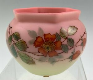 Antique Decorated Webb Burmese Glass Vase w/ Hand Painted Wild Rose