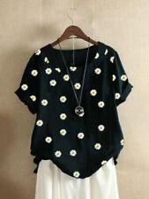 Womens Cotton Linen Floral Tops Ladies Summer Loose Blouse T Shirt Tunic 6-20 UK