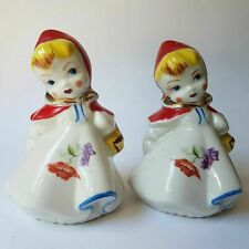 Little Red Riding Hood Hull Salt and Pepper Shakers Vintage Regal China Large 5""