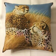 New 15 X 15 Pair Of Cheetah On Safari On Animal Wildlife Theme Complete Pillow