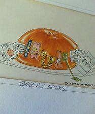 George moran water color animation art bagel & locks 1990