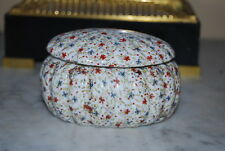 Wonderful Vintage Ceramic Porcelain Box Decorated With Multiple Colored Flowers