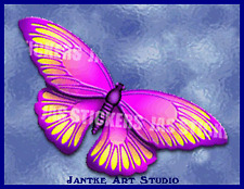 Butterfly Pink Med Animal Car Stickers Decal For Motorbike Caravan - STF131CPK
