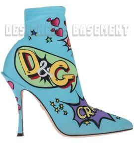 DOLCE & GABBANA Sock 39 COMICS Print stiletto heel ANKLE boots NIB Authentc $945