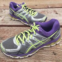 "Asics ""Gel Kayano 21"" Women's Running Shoes Size 8.5 Purple & Green Sneakers"