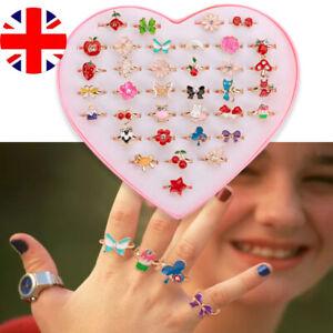10Pcs/Set Cute Cartoon Rings Little Girls Jewelry Kids Birthday Gifts - No Box E