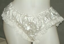 SISSY   PVC LACE CLEAR PEARL POLKA DOT frilly PANTIES  KNICKERS Size XL