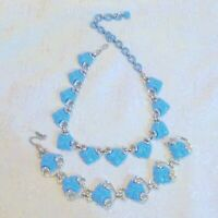 Vintage Coro Blue Thermoset Necklace Bracelet Demi