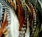 Natural Ginger Grizzly brown Whiting Hackle Feather extensions fluffy webbed