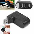 Black Mini 3 Ports Hub USB 2.0 Rotate Splitter Adapter for PC Notebook Laptop