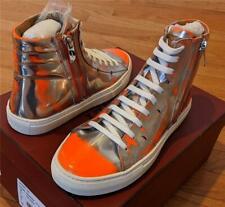 "$595 Mens Bally ""Hensel"" Metallic Patent Leather High-Top Sneakers Orange US 9"