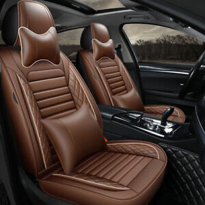 Universal Brown Car Set Covers with Pillows PU Leather Full Set Car Seat Cushion