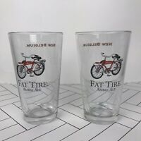 NEW BELGIUM - Fat Tire Amber Ale PINT GLASS Vintage Beer Glass Lot Of 2