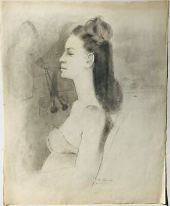 """The Two Spaniards-Woman & Cat-Figure 25"""" x 20"""" Pencil Drawing-1944-August Mosca"""