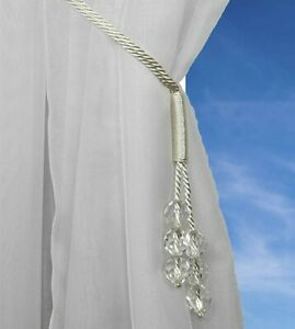 MODERN SPARKLY CRYSTAL BEADED WHITE SILK CORD VOILE CURTAIN TIEBACK £3.50 EACH