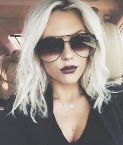 "Big Aviator ""KEY"" OVERSIZED Metal Gradient Women Sunglasses Shades SHADZ GAFAS"