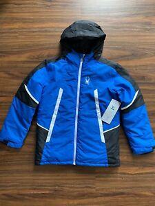 Spyder Big Boys City to Slope Puffer Ski Hooded Jacket, Color Blue Large(14-16)