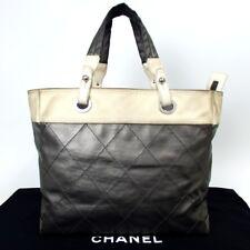 Authentic CHANEL Paris Biarritz MM Handbag Coating canvas/Leather[Used]