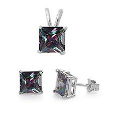 Princess Rainbow Colored Cz .925 Sterling Silver Earrings and Pendant Set