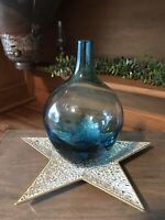"IKEA Mid Century Style Medium 8"" Art Glass Vase Retired Handmade Turquoise Blue"