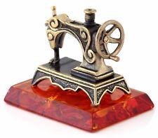 "Brass Retro Sewing Machine Miniature Figurine on Cognac Baltic Amber Base 1 3/4"""