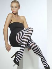 Halloween Fancy Dress Ladies Opaque Striped Tights Black & White New by Smiffys