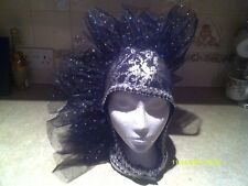 Drag Queen Black/Silver One sided Head dress Black organza ONE SIZE