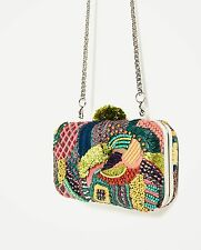 ZARA NEW SS 2017 MULTI-COLORED FABRIC MINAUDIERE BAG EMBROIDERED REF. 4352/204