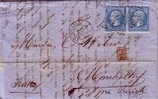 EMPIRE - N°22 EN PAIRE - LETTRE DE PARIS 3e LE 6-1-1865 - LETTRE POUR ZURICH SUI