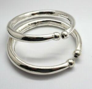 01 Pair Silver Cuff Bangle Tribal Jewelry Handmade Cuff Bracelet Bangle 67mm Rd