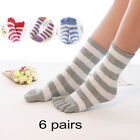6 Pairs Soft Ankle Length Funny Feet Womens Striped Warm Toe Socks Random Autumn