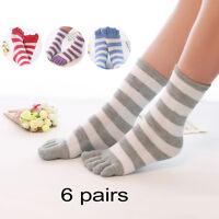 6 Pairs Soft Ankle Length Funny Feet Women Striped Warm Toe Socks Random Autumn
