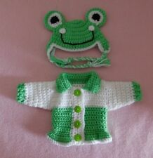Wellie Wishers Sweater Clothes Green Frog Sweater Hat Fits American Girl 14.5""