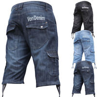 VON DENIM Mens Boys Denim Knee Half Shorts Holiday Combat Cargo Pocket Branded