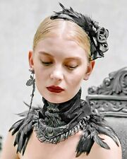 Black Rose Gothic Victorian Steampunk Hair Slide Barrette Fascinator Feather