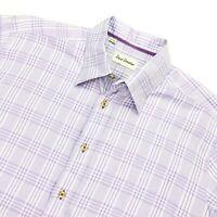 David Donahue Men's Dress Shirt Purple White Check Plaid • Large