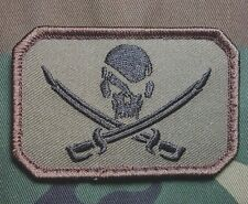 PIRATE SKULL & SWORDS FLAG CALICO JACK US ARMY USA MILITARY FOREST VELCRO PATCH