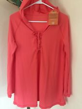 NWT WOMEN'S UV SKINZ HOODED BEACH EVERY DAY COVER UP PULLOVER CORAL SZ S UPF 50+