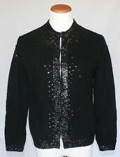Vintage Wool Cardigan Sweater 40 Black Beaded Sequins Pin Up Glam 50s 60s  T15 4b0fa9e74